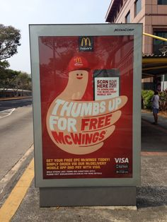 Thumbs up for free wings! #singapore #mcdonalds #advertising