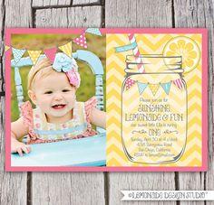 Lemonade Sunshine and Fun Invitation - Chevron Mason Jar Bunting Printable Yellow Pink Aqua