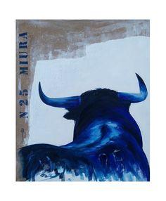 TABLEAU PEINTURE toro taureau tauromachie miura Animaux Peinture a l'huile  - Numero 25 - miura