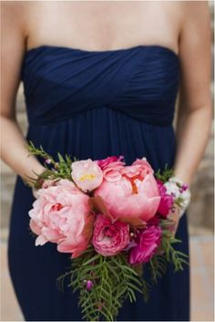 Get inspired: Navy & pink. Love the blue, and the pink #wedding bouquet! #WW #somethingblue