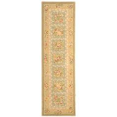 Safavieh Handmade Bouquet Green/ Sand Wool and Silk Runner (2'6 x 8') , Size 2'6 x 8' (Cotton, Floral)