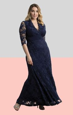 3/4 Sleeved Navy Plus Size Mother of the Bride Evening Gown by Kiyonna available at David's Bridal