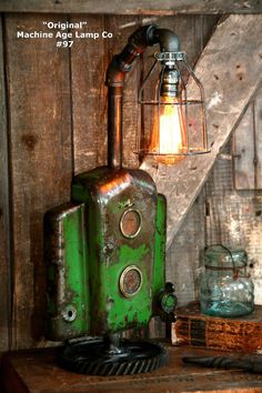 Steampunk Lamp Industrial Art Machine Age Salvage John Deere Tractor Dash