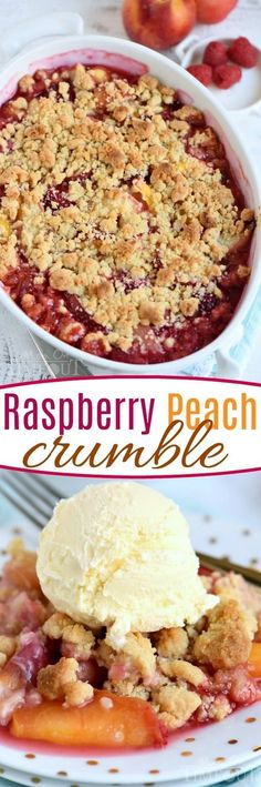 This easy Raspberry Peach Crumble is the perfect summer treat! Fantastically easy and amazingly delicious - this is one dessert no one will be able to resist! // Mom On Timeout