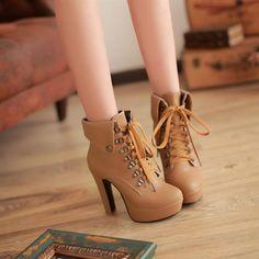 Details zu Women Round Toe Platform Lace Flower Thick High Heels ...