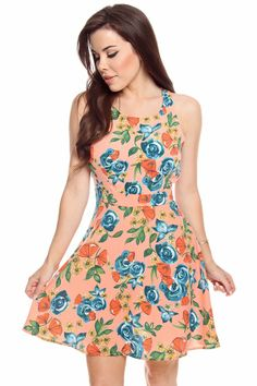 BLUE LIME FLORAL TANK SLEEVE DRESS,Cute Casual Dresses-Casual ...