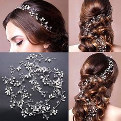 1 metre pearl and crystal beads bridal hair garland