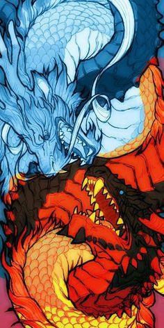 Lindo Japanese Art, Fantasy Art, Dragon Artwork, Creature Art, Japanese Tattoo Art, Dragon Art, Anime Wallpaper, Art Wallpaper, Dark Fantasy Art