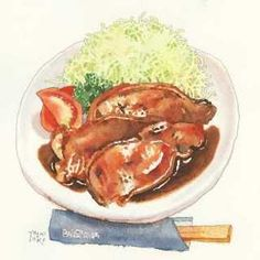 ✿Food  Beverages✿ Lamb chops, tomatoes, cabbage