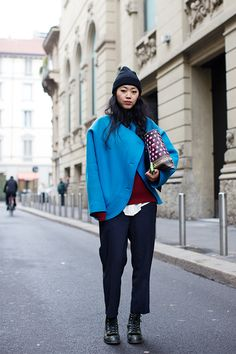 Great winter combo; pops of color, layers, and some great basics. | via The Sartorialist