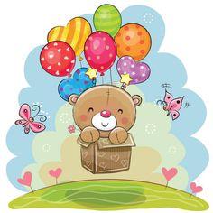 Lindo ursinho com balões - ilustração de arte em vetor