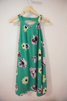 J.Crew Factory Green Punk Floral Circle Neck Dress Size 14 #JCrew #Shift #Cocktail