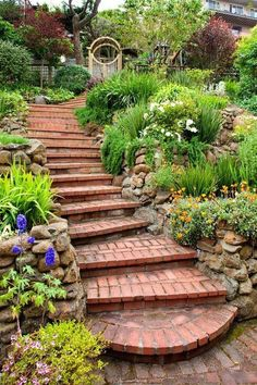 20 Really Interesting Ideas How To Design Stairs In The Garden  Like the rock walls on sides of steps terracing plants