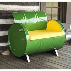 Drum Barrel Furniture This green drum barrel armchair is made from a recycled…