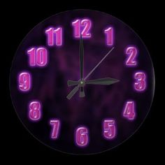 Dark purple with glowing neon numbers round wall clocks by YANKAdesigns