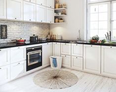 Featuring Scandinavian Apartment Decoration Ideas Beautified With Contemporary Interior And Arrangement Bring Amazement Scandinavian Interior Bedroom, Scandinavian Apartment, Modern Home Interior Design, Scandinavian Kitchen, Scandinavian Design, Interior Ideas, Classic Kitchen Furniture, Kitchen Interior, Kitchen Decor