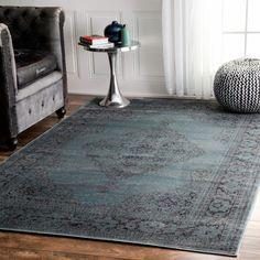 nuLOOM Oriental Vintage Viscose Persian Marine Area Rug (5' x 8') (Marine), Blue, Size 5' x 8'