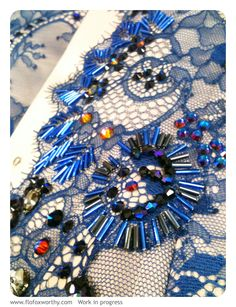 Embellished lace with Swarovski beads & rhinestones