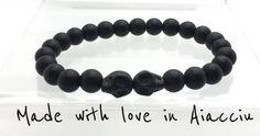bracelet homme perles noire  agate mate par madewithloveinaiaciu