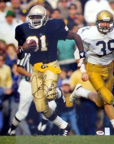 "Tim Brown Autographed 16x20 Photo Notre Dame Fighting Irish """"Heisman '87"""" PSA/DNA Stock"