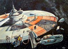 Vintage Retro-Future Space image (source: 1950's, Russia)
