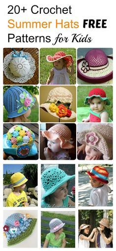 Crochet Baby Hats 20 Crochet Summer Hats Free Patterns for Kids - 20 cute kids Crochet Hat Free Patterns for you to make gifts that can be remembered the most. Have fun viewing the photos and happy crocheting. Kids Crochet Hats Free Pattern, Crochet Kids Hats, Crochet Patterns, Hat Crochet, Hat Patterns, Kids Patterns, Summer Patterns, Pattern Ideas, Crochet Skirts