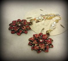 Poinsettia Earrings, Ladies Earrings, Christmas, Holiday Earrings, Red Flower, Pearl Earrings, Swarovski Crystal, Wire wrapped - pinned by pin4etsy.com
