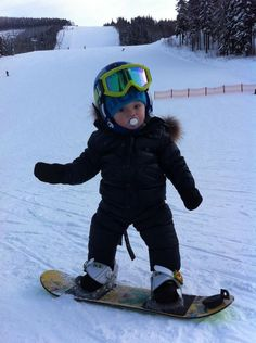 """It's never too early to start snowboarding! Thumbs up for our """"Youngest Pro Rider"""" from Czech Republic."""