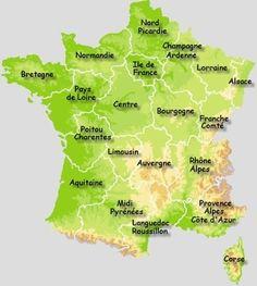 Carte de France par région des beaux villages de France- Un superbe site