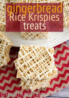 Gingerbread Rice Krispies Treats: Simple Rice Krispies Treats get a holiday upgrade-- spiced with molasses, cinnamon, and ginger and drizzled with a spiced white chocolate. Perfect for cookie trays!