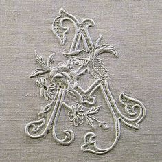 Embroidered initial A from an old italian book - many of these pieces were made for royal or noble families