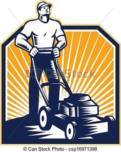 Vector - Gardener Mowing Lawn Mower Retro - stock illustration, royalty free illustrations, stock clip art icon, stock clipart icons, logo, line art, EPS picture, pictures, graphic, graphics, drawing, drawings, vector image, artwork, EPS vector art