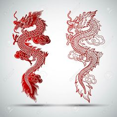 Illustration of traditional chinese dragon illustration # . - Illustration of traditional chinese dragon illustration # Dragon illustration - Red Dragon Tattoo, Small Dragon Tattoos, Dragon Tattoo For Women, Japanese Dragon Tattoos, Dragon Tattoo Designs, Chinese Dragon Drawing, Chinese Tattoos, Asian Tattoos, Dragon Tattoo Outline
