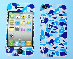 iPhone 4 / 4S Blue Vinyl 2-i-1 Stickers / Protective Film - Front (CLEAR) & Back  - $6.87