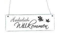 Türschild HERBSTLICH WILLKOMMEN Holzschild Schild von DÖRPKIND auf www.doerpkind.de