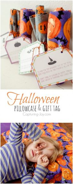 How to make a halloween pillowcase with free printable gift tag for the kids for the month of October. Fun gift idea for friends, too. Capturing-Joy.com