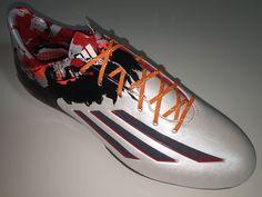 SR4U Reflective Orange Soccer Laces on adidas F50 adiZero Messi