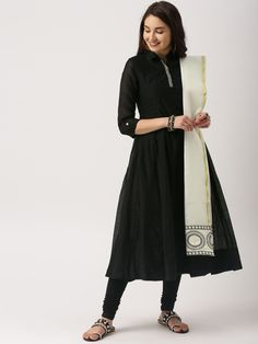 Buy IMARA by Shraddha Kapoor Black & Off-White Solid Kurta with Churidar & Dupatta online in India at best price.Black and off-white solid kurta with churidar and dupatta Black and off-white A-line calf length kurta, White Salwar Suit, Black Salwar Kameez, Black Kurti, Black Anarkali, White Kurta, Black Saree Designs, Plain Kurti Designs, Salwar Neck Designs, Churidar Designs