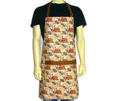 Kitchen Apron for Men  Fly Fishing Tackle  Tan with by ElsiesFlat (Accessories, Apron, Men, kitchen apron, fishing apron, mens apron, full kitchen apron, cooking apron, fishing tackle, fishing lures, tan, brown, aprons for men, Fly fishing, adjustable apron, cabin decor)
