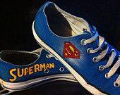 Superhero, Superman , lowTop, Converse, Nerd, Geek, comic book, Custom, video game, retro, nostalgia, fun handpainted, whimsybykelly