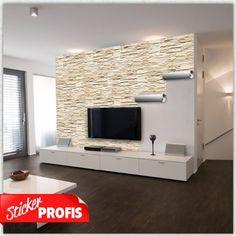 wohnzimmerwand, tv wohnwand gestalten | neue wohnung | pinterest ... - Wohnzimmer Mit Steinwand Grau