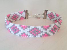 Beaded Bracelet, Loom Bracelet- Pink and Gray Pattern