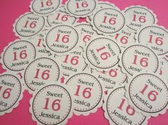 From the Extraordinary Everyday Events Blog - 2014 Party Trends - Personalized Name Sweet 16 Name Confetti Birthday Party Decoration Tag Favor Cupcake Topper Girl