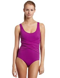 Speedo Womens Solid Criss Cross Front With Core Compression Swimwear $57.60