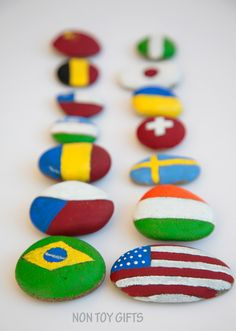 Painted flag rocks - teach kids about flags and help them identify some of them. It's a fun and simple stone craft. Multicultural Classroom, Multicultural Activities, Learning Activities, Activities For Kids, Diversity Activities, My Father's World, Flags Of The World, Teaching Kids, Kids Learning