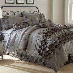 Anastacia Platinum 8-piece Ruffled Bed Set, Brown
