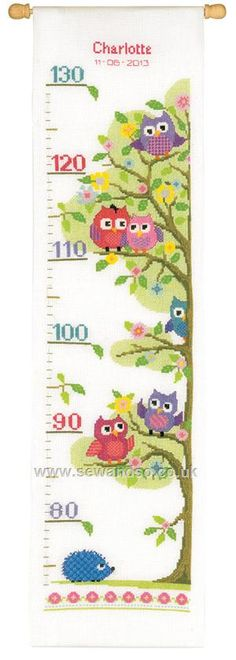"""Little Owls in the Tree Height Chart Cross Stitch Kit 7¼"""" x 28"""" (18cm x 70cm).  Kit contains chart and instructions, needle, 14 count white Aida fabric and presorted DMC stranded cotton threads on a loaded thread organiser.  Kit includes both pink and blue yarn for name and date. Price £37.56 in October 2014 ;) Mo © Vervaco"""