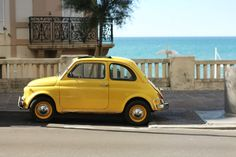 Little yellow car on the French Coast