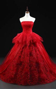 Red Strapless Wedding Dress Bridal Gown Ball Gowns #prom #promdress #dress #eveningdress #evening #fashion #love #shopping #art #dress #women #mermaid #SEXY #SexyGirl #PromDresses Prom Dresses 2017, Tulle Prom Dress, Prom Party Dresses, Bridal Dresses, Evening Dresses, Strapless Gown, Stunning Prom Dresses, Pretty Dresses, Party Dresses For Women