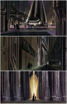 """ROTJ: These images are from """"The Art of Ralph McQuarrie"""". Here we see concept art showing Luke and Vader's procession to the Emperor's throne room on Coruscant. In these 3 images, Vader leads Luke from the shuttle's landing platform in the city center, through the narrow streets winding between high-rise buildings, and finally through the gateway of the Imperial Palace. Lucas eventually cut these scenes due to budget constraints."""